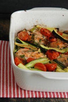 Gemüse-Lachs aus dem Ofen