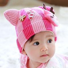 Cute animal ears knitted hat for toddlers decor cat beanies plush lined style