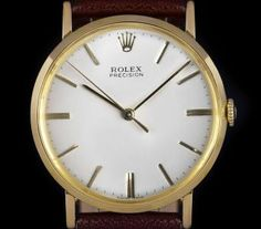 Rolex Precision Vintage Gents 18k Yellow Gold Silver Dial 9659