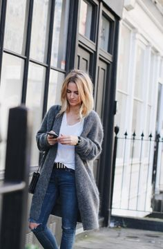 denim, white tee, long sweater
