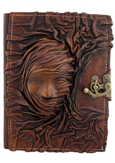 Scarfed Woman Brown Leather Journal Notebook Diary Sketchbook Handmade | eBay