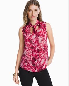 34c2a53797ee94 Women s Floral Tie-Front Shell Top by White House Black Market