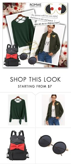 """Romwe: Army Green Jacket"" by luisa-lisa ❤ liked on Polyvore"