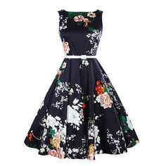 Cotton One-piece Dress, different size for choice, printed, floral, black - yyw.com