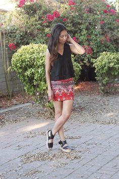 black flowy top, tribal mini skirt, vince espadrilles