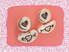 Love Is In The Air - Heart & Arrow Sterling Silver Artisan Earrings OOAK Valentine's Day Gift  @@ FREE SHIPPING @@