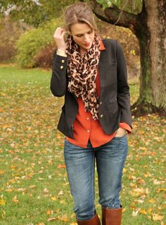 black blazer orange shirt leopard scarf jeans riding boots ♥