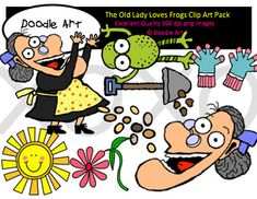 """This """"The Old Lady Who Loves Frogs"""" Clipart collection includes all the images shown in the sample picture and more. This clipart pack is a parody of the book There Was an Old Lady Who Swallowed a Frog. This group includes 24 different clips:* Black line masters of all clips* Old lady (many poses)* Dog* Birds* Seeds* Frog* Rain* Dirt* Rake* Shovel* Flowers* So CuteGraphics come in PNG format 300 dpi format.My graphics are suitable for printing and digital projects and can be easily…"""