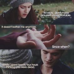 Twilight - It doesn't bother me anymore - Babsi P. - Twilight - It doesn't bother me anymore Twilight - It doesn't bother me anymore - Twilight Saga Quotes, Twilight Saga Series, Twilight Edward, Twilight New Moon, Edward Bella, Twilight Series, Twilight Movie, Edward Cullen, Vampire Twilight