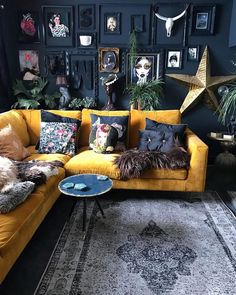 Yellow sofa black walls I'm not this stylish but awesommee