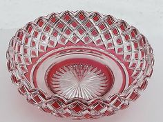 Hand Cut Glass and mouth blown cranberry cut to clear bowl cased glass