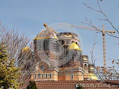 Cathedral of the Salvation of the Nation, Bucharest, Romania - in construction, crane at work. Image Photography, Editorial Photography, Bucharest Romania, Crane, Taj Mahal, Cathedral, Construction, Stock Photos, Architecture