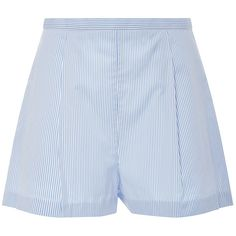 MDS Stripes Pleated Short (195 AUD) ❤ liked on Polyvore featuring shorts, light blue, thakoon, slim shorts, cotton shorts, light blue shorts and slim fit shorts