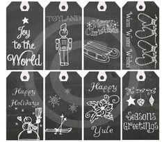 Digital Chalkboard Christmas Gift Tags  Printable by Vintagize, $3.50