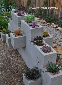 This cinder block planter divider is a wonderful idea to save water and also create a small beautiful garden. This is a flexible project. 30 Low-water Landscaping Ideas For Your Garden - Water free landscape garden ideas Cinder Block Walls, Cinder Block Garden, Cinder Blocks, Low Water Landscaping, Garden Landscaping, Landscaping Ideas, Succulent Landscaping, Landscaping Software, Cinderblock Planter