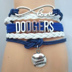 Infinity Love Los Angeles Dodgers Baseball - Show off your teams colors! Cutest Love Los Angeles Dodgers Bracelet on the Planet! Dodgers Gear, Let's Go Dodgers, Dodgers Baseball, Baseball Mom, Dodgers Party, Baseball Fabric, Softball, Baseball Bracelet, Baseball Jewelry