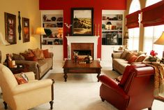 Traditional Red Painted Living Room with Cream Sofa Furniture Living Room Ideas in Red and Cream Furniture Decor