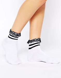 ASOS 2 Stripe Ankle Socks With Lace Trim