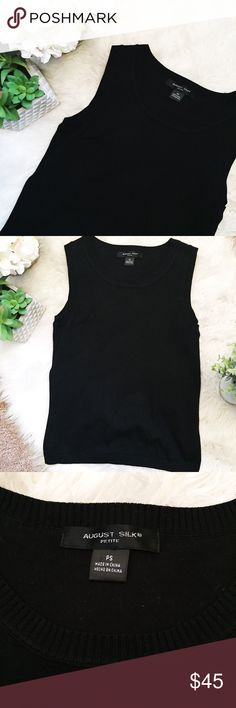NWOT Black Sleeveless August Silk Top August Silk - brand. Black Sleeveless top that fits true to size Petite Small. NWOT. Tops