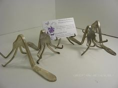 Funky Fork Business Card Holder  vintage by WhisperingMetalworks, $10.00