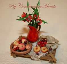 Peaches and poppies!!! Dollhouse miniature food scale 1/12