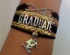 Graduate bracelet, diploma bracelet, graduate student gif, senior graduation, diploma haut graduate gift, black/gold color