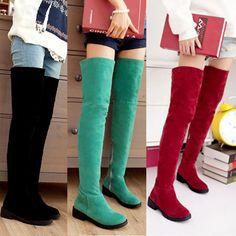 New Women Over Knee High Boots Suede Low Heels