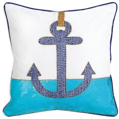 """Jonathan Adler Cote D'Azure Anchor Pillow, 16"""" x 16"""" found on Polyvore"""