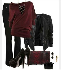 """burgundy top: outfit """"Girls Night Out"""" Mode Outfits, Winter Outfits, Casual Outfits, Fashion Outfits, Womens Fashion, Fashion Ideas, Dress Casual, Ladies Fashion, Fashion Trends"""