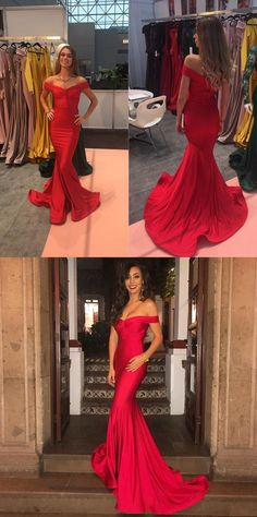 2018 Off The Shoulder Prom Dress Red Formal Evening Gown Mermaid P2052