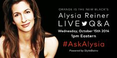 """In case you missed an awesome Twitter interview with """"Orange Is The New Black"""" Alysia Reiner (Natalie Figueroa), we have prepared a transcript of the whole event. This conversation includes original fan questions and Alysia's answers as they were posed to her in a live Q&A session."""