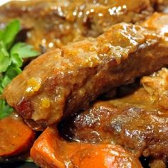 Curried Pork Ribs Recipe Main Dishes with pork ribs, kosher salt, white pepper, flour, Madras curry powder, chinese five-spice powder, chicken stock, onions, carrots, oil