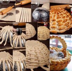 Braided Bread Dough Basket * 200 grams Bread Flour * 4 grams Yeast * 20 grams Sugar * teaspoons Salt To Taste * 100 milliliters Water * 1 whole Beaten Egg, Divided * 20 grams Butter, Melted recipes backen backen rezepte bread bread bread Easter Bread Recipe, Easter Recipes, Art Du Pain, Holiday Bread, Bread Art, Bread Food, Braided Bread, Plaited Bread Recipe, Bread Rolls