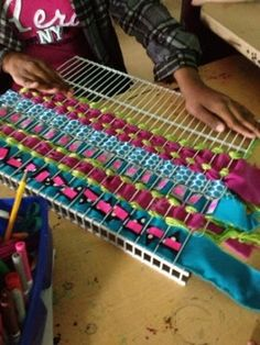 There's a Party in the Art Room!: Woven Wall Hangings with Reusable Materials There's a Party in the Art Room!: Woven Wall Hangings with Reusable Materials Weaving For Kids, Weaving Art, Tapestry Weaving, Loom Weaving, Hand Weaving, Fabric Weaving, Rug Loom, Weaving Projects, Woven Wall Hanging