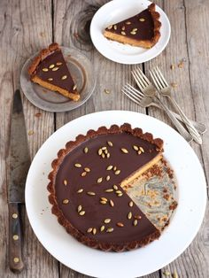 "<strong>Get the <a href=""http://www.completelydelicious.com/2013/11/chocolate-pumpkin-tart.html"" target=""_blank"">Chocolate Pumpkin Tart with Gingersnap Crust recipe</a> from Completely Delicious</strong>"