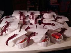 Plastic canvas graduation caps filled with treats for my little girl's graduating class.