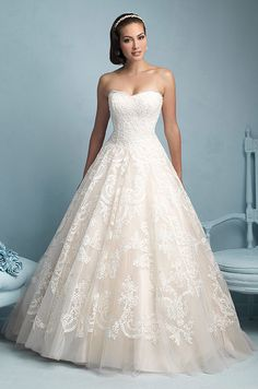 Strapless ball gown wedding dress by Allure, 2015