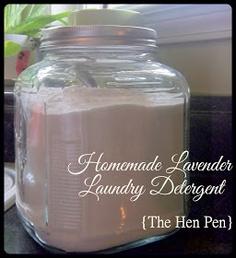 The Hen Pen: Homemade Laundry Detergent (castile soap, borax, baking soda, lavender essential oil)
