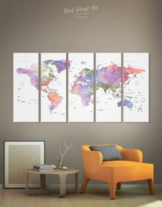 5 Panels Violet Watercolor World Map Wall Art Canvas Print Map Canvas, Canvas Wall Art, Canvas Prints, Multiple Canvas Art, Art Deco Living Room, Art Deco Tiles, Canvas Art Quotes, Recycled Art Projects, Water Color World Map