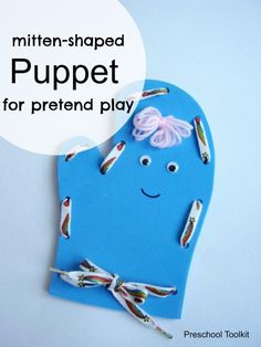Mitten Shaped Puppet for Pretend Play. Letter M Craft. Kids Crafts from A-Z Preschool Crafts, Preschool Activities, Crafts For Kids, Craft Kids, Creative Arts And Crafts, Creative Play, Foam Crafts, Craft Stick Crafts, Letter M Crafts