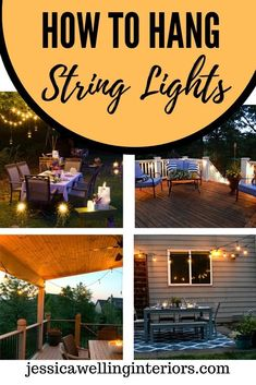 Hang patio lights in your backyard! These 10 ideas and tutorials for hanging outdoor string lights. Make string light poles, hang them from deck railings, attach them to trees, and more!