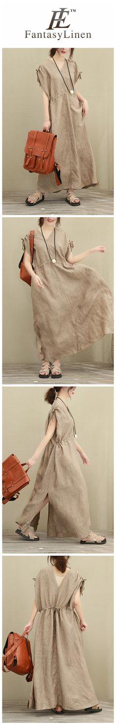 Art V Neck Long Loose Linen Dress Women Clothes