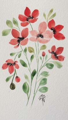 Watercolor Art Lessons, Watercolor Sketchbook, Watercolor Projects, Watercolor Cards, Abstract Watercolor, Watercolor Paintings, Watercolor Flowers Tutorial, Floral Drawing, Plant Painting