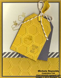 """Handmade card by Michele Reynolds, Inspiration Ink, using Stampin' Up! products - Honeycomb Hello Set, Epic Day Designer Washi Tape, Honeycomb Embossing Folder, Angled Tag Topper Punch, Metallic Baker's Twine, and 3/8"""" Stitched Satin Ribbon."""