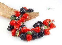 Polymer clay Berry Salad Charm Bracelet