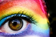 Rainbow make up.
