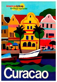 Curacao Travel Poster, via American Airlines Retro Poster, Poster Ads, Vintage Travel Posters, Poster Prints, Vintage Airline, Art Print, Party Vintage, Tourism Poster, Kunst Poster
