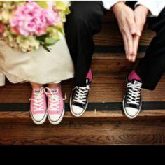 Sneakers with weddings dresses... Too cute
