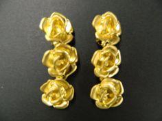 Vintage triple rose clip on earrings by aprilsunrises on Etsy