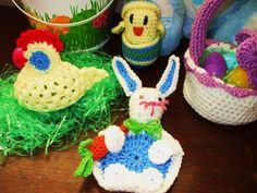 Easter crochet ,bunny coaster, chicken cozy egg cover,chick in egg, basket